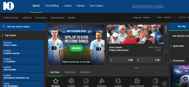 10Bet website design