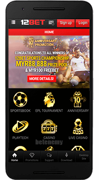 12Bet mobile homepage thru Android