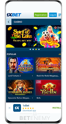 casino section in 1xbet for android