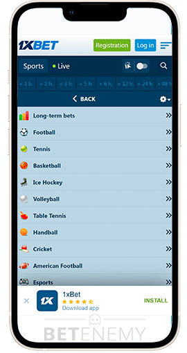 application 1xbet pour blackberry