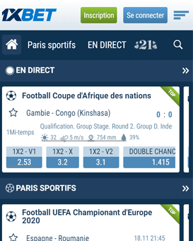 application mobile 1xbet pour android et ios