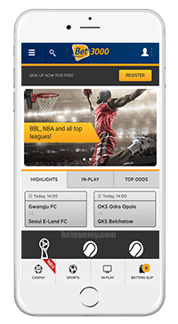mobile version of Bet3000