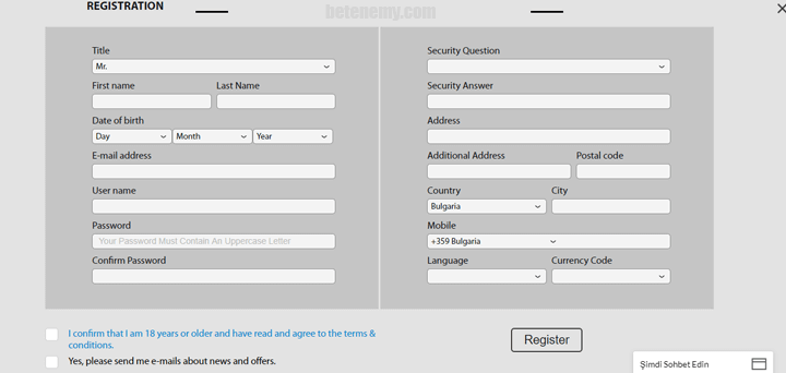 BetAdonis registration