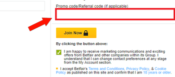 betfair bonus code enter