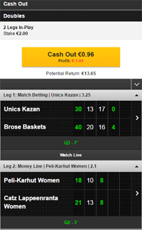 betfair cash out example