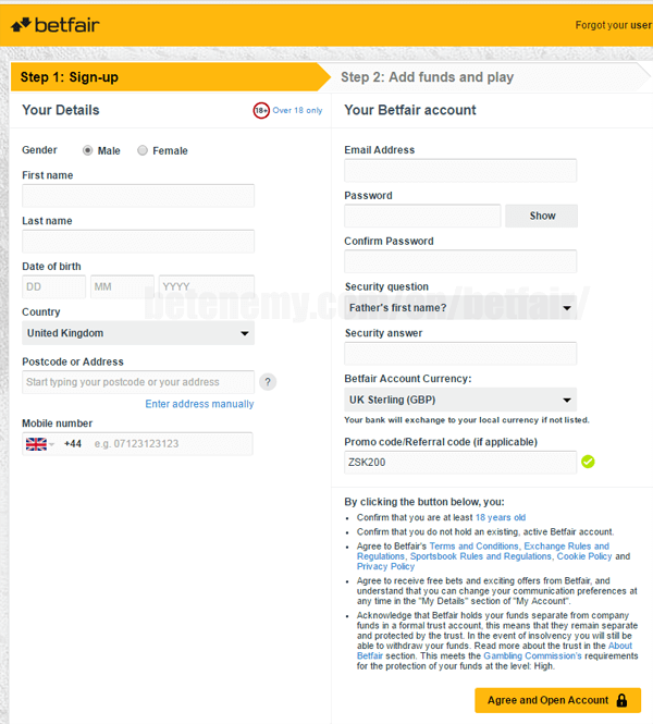 How to register at Betfair Sportsbook