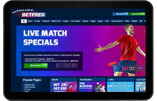 Betfred mobile site thru tablet