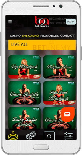Bet On Aces live casino thru Android