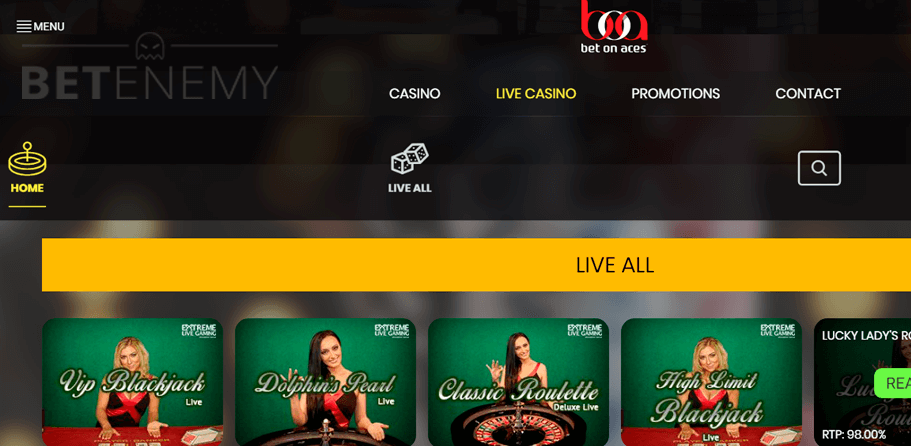Bet on Aces live casino