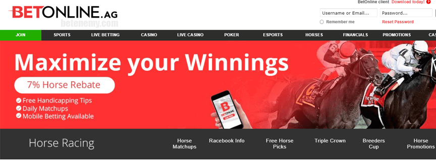 horse betting of BetOnline