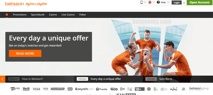 homepage of Betsson