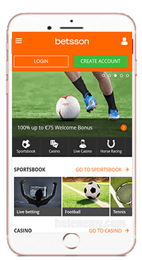mobile version of Betsson