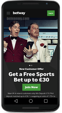 homepage of betway mobile