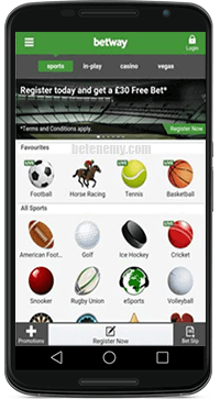 mobile sports section of betway