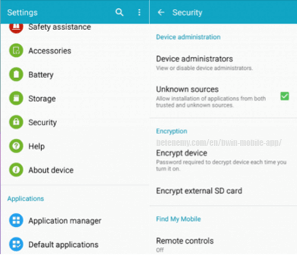 security settings for unknown sources