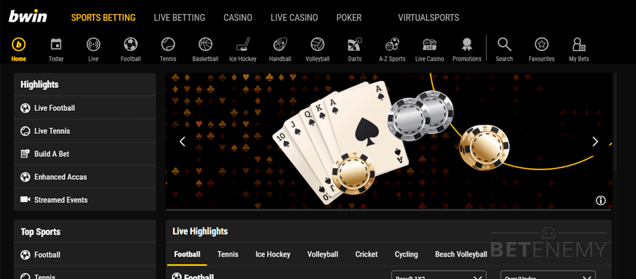 Main page of the site bwin