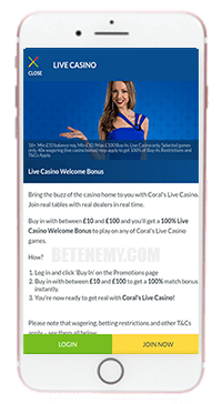 Coral mobile live casino for iOS