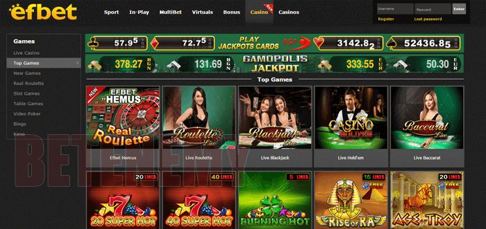 efbet casino section by Efbet