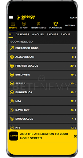 mobile version of Energybet