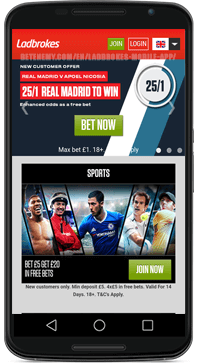 home page of ladbrokes for android