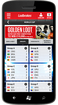 sportsbook group page on windows phone