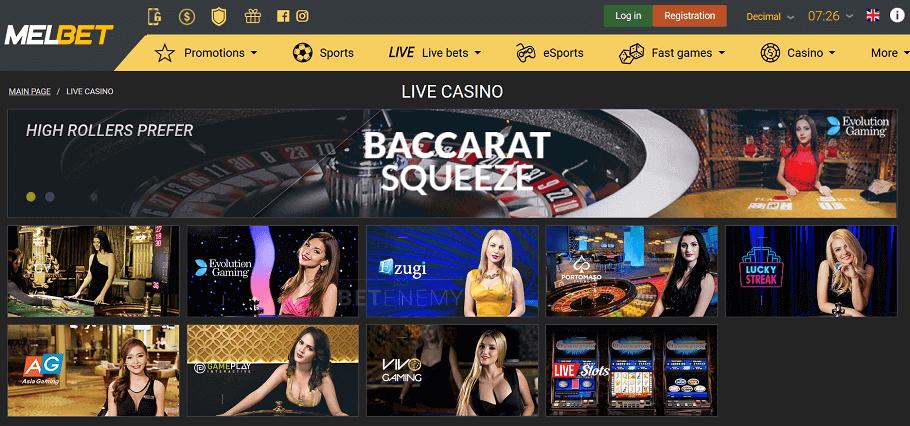 live casino page at melbet
