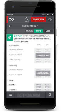 Matchbook live betting thru Android