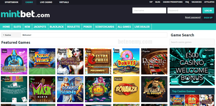 Mintbet casino page