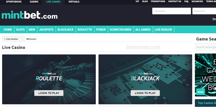 live casino in Mintbet