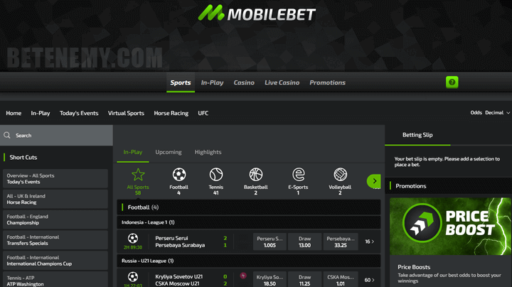 mobilebet sports page