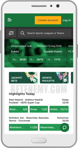 MrGreen android app sports