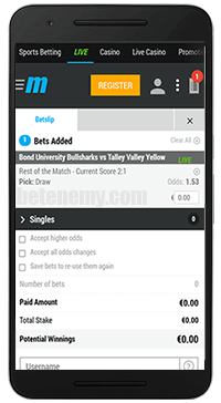 MyBet mobile bets thru Android