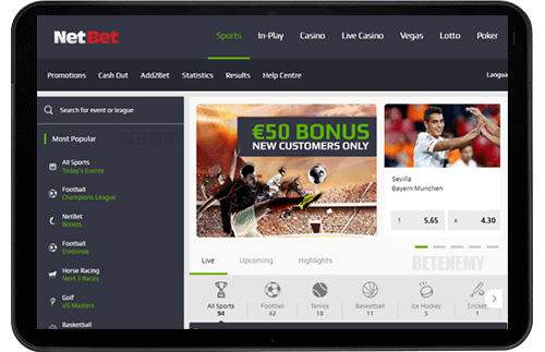 NetBet mobile version thru tablet