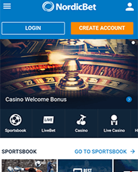 NordicBet mobile application