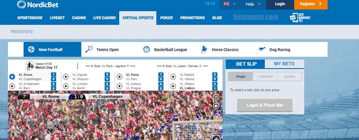 virtuals section in NordicBet