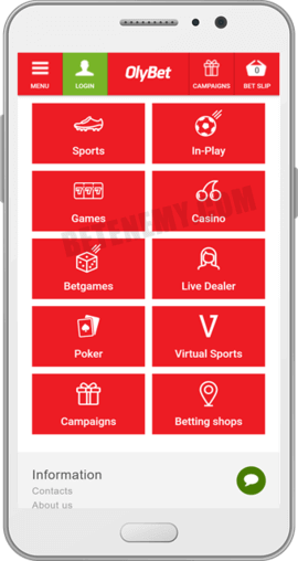 olybet android app homepage
