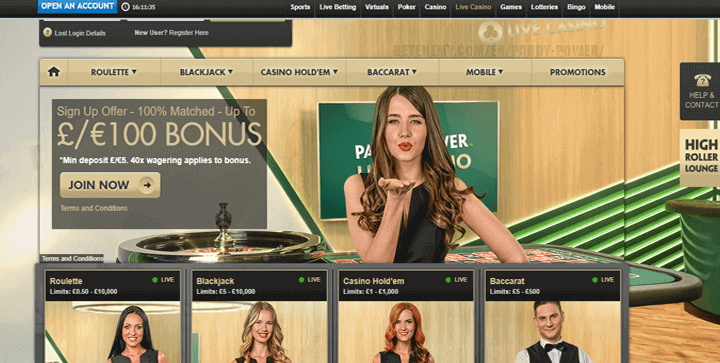 paddypower live casino