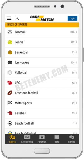 Parimatch android app sports