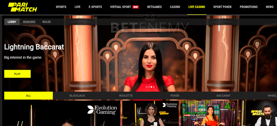 parimatch live casino