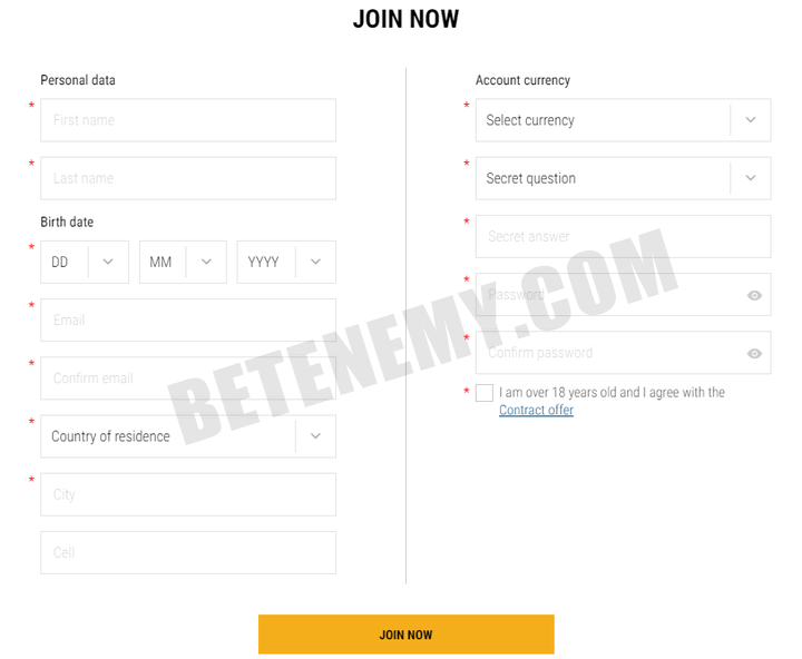 parimatch registration form