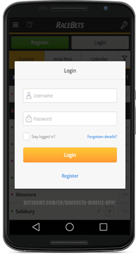 racebets mobile login form