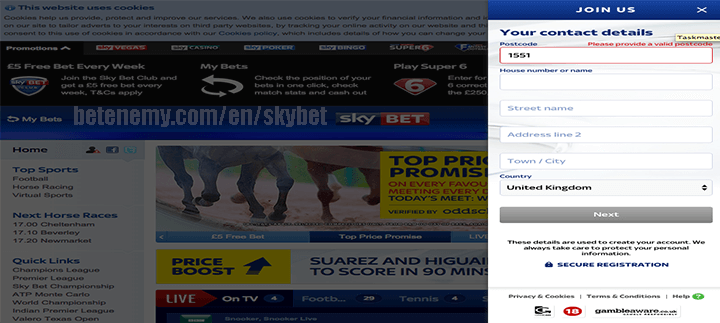 skyBET address details