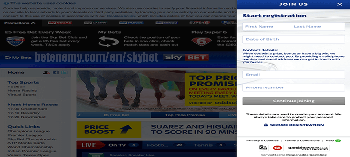 skyBET continue button