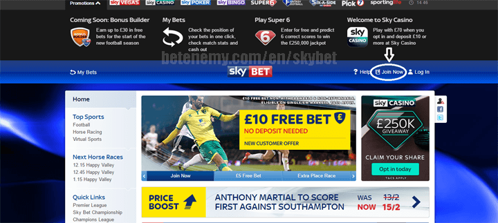 skyBET join now