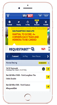 skyBET mobile version