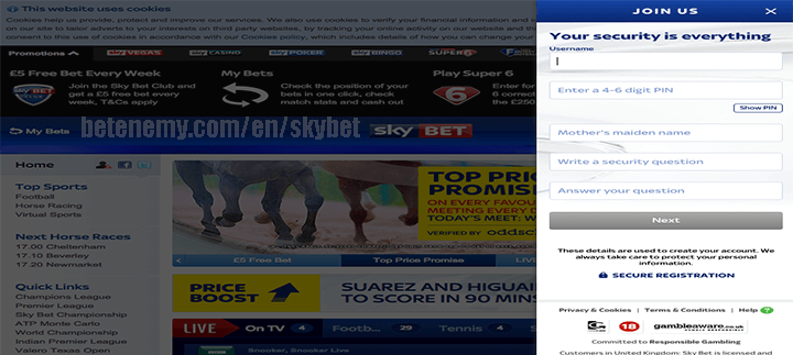 skyBET security details