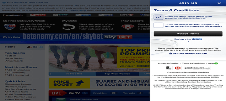 skyBET terms and conditions