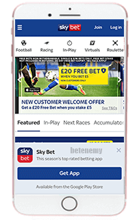 SkyBet mobile app for iPhone