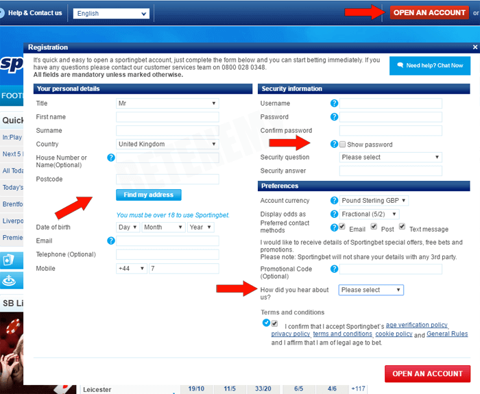 registrtiong at Sportingbet