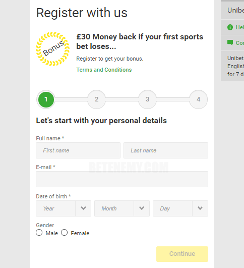 Unibet registration process